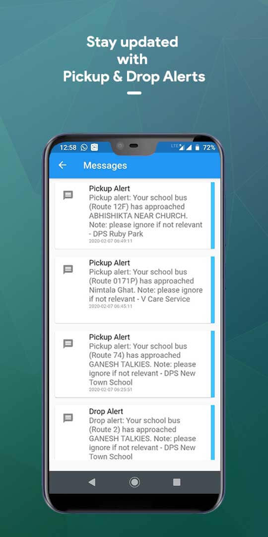 Stay updated with Pickup & Drop Alerts